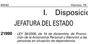 Publicado en el BOE el texto definitivo de la Ley de Dependencia